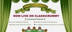 Jumbo Premium Tourney - Play rummy cash tourneys at Classic Rummy and win fabulous cash rewards. Play and win the Jumbo tournaments held everyday. Rummy Online, Cash Prize, Live In The Now, Stuff To Do, Names, The Incredibles, Play, Book, Classic