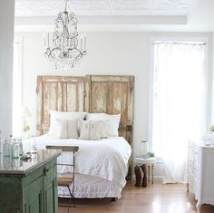 Inspiring Old Furniture Trimming Ideas for Antique House Ornament: Repurposing Old Doors As Bed Headboard ~ jillyshappyhome.com Ideas Inspiration