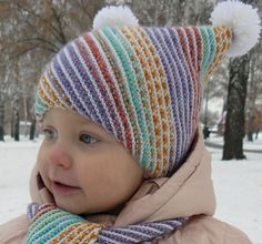 Детская шапочка и шарфик «По диагонали». Обсуждение на LiveInternet - Российский Сервис Онлайн-Дневников