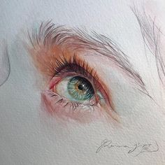 Reina Yamada is an artist who works actively in Japan and is the author of many works of watercolor art. The re-adaptation of watercolor paint. Watercolor Eyes, Watercolor Portraits, Watercolor Illustration, Watercolor Paintings, Arte Gcse, Eye Painting, Wow Art, Realistic Drawings, Detailed Drawings