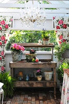 Garden potting bench with chandelier.I need a chandelier above my potting bench.but first I need a potting bench!
