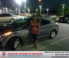 Thank you to Trena Adams on your new 2013 Hyundai Elantra from Larry Green  and everyone at Absolute Hyundai!