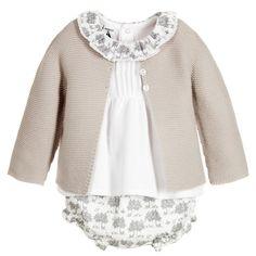 Babidu Grey Knitted 3 Piece Baby Shorts Set at Childrensalon.com