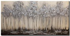Modern landscape paintings on canvas. Silver Forest is a hand-painted artwork, created by the artist Osnat Tzadok. An online art gallery of modern paintings - artwork id Canvas Artwork, Canvas Art Prints, Framed Canvas, Blooming Trees, Canvas Painting Landscape, Glitter Canvas, Cool Landscapes, Modern Paintings, Abstract Paintings