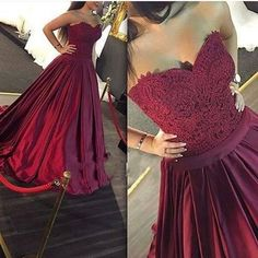 Strapless Long Burgundy Prom Dress Ball Gown