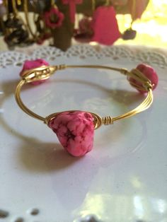 The Pink Sea Rock - Wire Wrapped Gold Bangle on Etsy, $16.00
