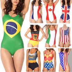 Woman Beach Wear USA/UK/Canada/France/Italy/Germany/Brasil Flags Female Sexy One Pieces Swimsuit Bathing Suit Plus Size Swimwear