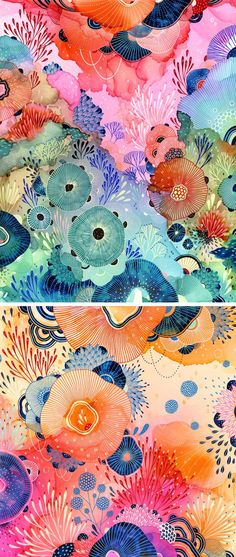 Artist Yellena James creates kaleidoscopic, biomorphic artworks that resemble colorful ecosystems, filled with imaginary flora and fauna.