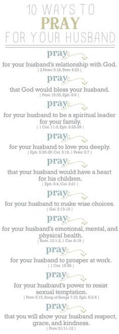 10 Ways To Pray For Your Husband, you can substitute husband for boyfriend