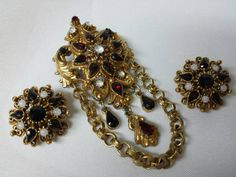 Florenza Rubies and Moonstone magnificent brooch and clip earrings set