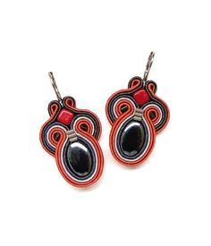 Orange Earrings Orange and Grey Earrings Orange Chandelier Earrings Soutache Earrings Statement Earrings Long Earrings Big Earrings