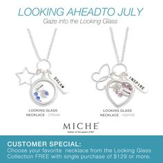 Choose one of these Beautiful Miche Looking Glass Necklaces for free with your qualifying purchase. For July only! Click for more details #miche #jewelry