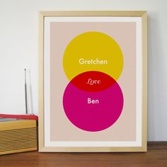 LOVE Personalized Couples Names (Yellow, Red, Pink) - Custom Wall Art Poster