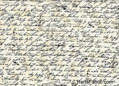 Antique Script Cotton Fabric Cream. hartsfabric.com
