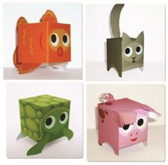 Cute Paper Toys For Kids - by Paper Box World Fun Projects For Kids, Art For Kids, Crafts For Kids, Diy And Crafts, Arts And Crafts, Paper Crafts, Handmade Wooden Toys, Craft Box, Creative Teaching