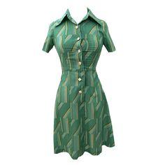 1970s green geometric striped vintage dress
