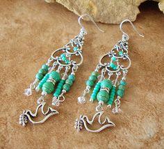 Peace Loving Chandelier Earrings Green Turquoise by BohoStyleMe