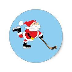 Hockey Santa Skating Christmas Classic Round Sticker - christmas stickers xmas eve custom holiday merry christmas