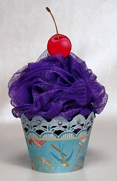 The Paper Boutique: Bath Scrunchie Cupcakes, idea for Secret Santa Money Bouquet, Sock Cupcakes, Cupcake Crafts, Homemade Gifts, Homemade Scrub, Hat Crafts, Secret Santa Gifts, Jar Gifts, Creative Gifts