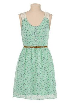 Belted Lace Shoulder Floral Chiffon Dress available at #Maurices #lovinthelook!