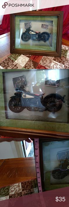 Motorcycle picture Framed motorcycle picture, with brown frame 3D. Buyer pays extra shipping, no reasonable offer will be refused in my closet! Thank you for stopping by and happy poshing Other
