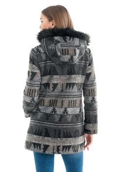 ΗΜΙΠΑΛΤΟ ΜΕ ΖΑΚΑΡ ΣΧΕΔΙΑ ΚΑΙ ΚΟΥΚΟΥΛΑ 129.90€ Kai, Fur Coat, Winter Jackets, Fashion, Winter Coats, Moda, Winter Vest Outfits, Fashion Styles, Fashion Illustrations