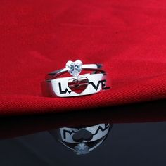 """Shop Our Creative """"Love"""" 925 Silver Couple Rings With The Lowest Price And Get Extensive Classic And Fashion Ring Collection Today. Mens Sterling Silver Necklace, 925 Silver, Silver Jewelry, Silver Rings, Couple Rings, Fashion Rings, Cufflinks, Classic, Creative"""