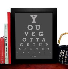 Pink, Youve Gotta Get Up And Try Try Try, Eye Chart, 8 x 10 Giclee Art Print, Buy 3 Get 1 Free. $8.99, via Etsy.