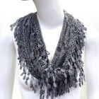 Scarfand's Lace Infinity Scarf with Fringe (Gray)