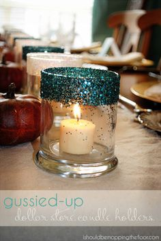 Gussied Up Dollar Store Candle Holders - I can make these for Christmas.