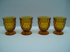 Set of 4 Amber Colony Whitehall Stacked Cube Glasses, Tumblers, Indiana Glass by GandTVintage on Etsy