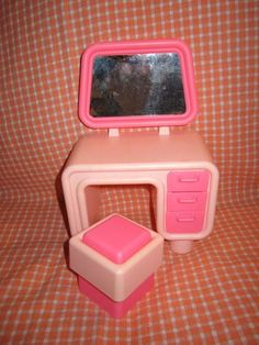 1980's barbie furniture | 1980's pink BARBIE vanity and stool - DREAM HOUSE furniture from ...