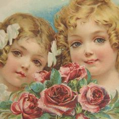 vintage children with roses