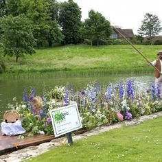 """Leeds Castle Kent, Chelsea Fringe with an English """"Country Garden"""" punt."""