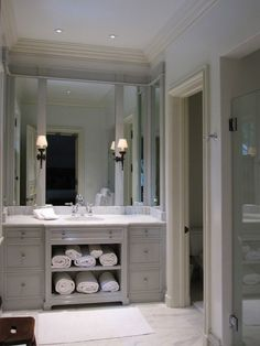 bathrooms - extra-wide single vanity marble countertop marble tiles floor frameless glass shower  Yes, please! Gorgeous gray extra-wide single