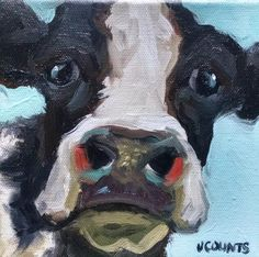 "COW ART HOLSTEIN DAIRY COW CUTE ANIMALS HOME RESTAURANT OFFICE BARN FARM DECOR INTERIOR DECORATING SMALL OIL PAINTINGS DAILY PAINTING  ""Virginia"" Oil on Canvas 6""x6"""