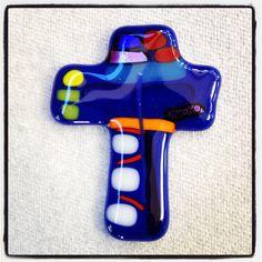 blue fused glass cross by michegodo on Etsy, $14.00