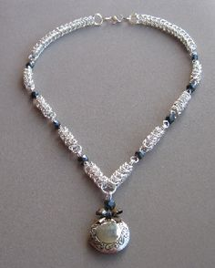 Maidens Favor Chain Maille Necklace with Locket