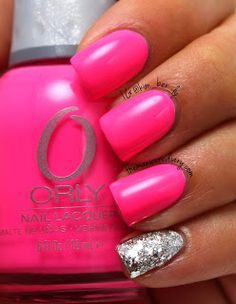 The Manicure Diary: Neon pink. So my accent nail is Sally Hansen Celeb City topped with OPI Crown Me Already! and Essie Set In Stones.  This combination definitely adds that touch of bling I was  looking for.