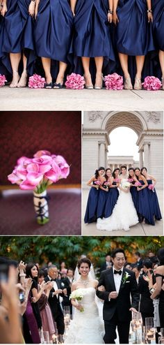 Navy Blue And Fuschia Wedding | Navy Blue Wedding Color Palettes / silver navy