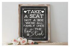 Instant 'Take a Seat Not a Side' Printable 8x10 11x14 by JoJoMiMi