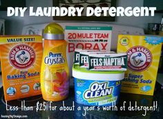 Save money with this mostly natural DIY Laundry Detergent Recipe! Works great, smells awesome! | SavingByDesign.com