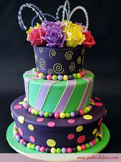 Flared Topsy Turvy Rose Cake..I love the colors