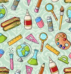 Seamless cute doodle back to school pattern vector by inspirator88 on VectorStock®