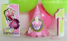 1st Bday Party Hat, card, 3D #1. cut with the silhouette using SVG Cuts files