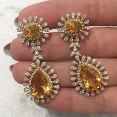 Brinco deuso de #citrino com borda gota de #brilhantes [] #jewelry #love #gem #jewelry