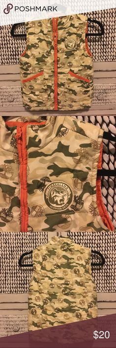 TIMBERLAND vest. Boys size 6 Timberland vest boys size 6. Army green and tan camo style print, with orange zipper, and orange lining inside.  How handsome will your little guy look in this...!  Excellent condition!!! Timberland Jackets & Coats Vests