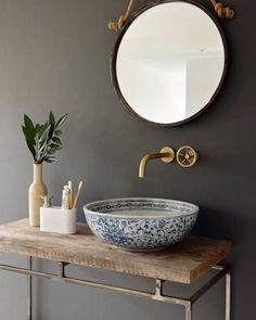 London basin company handcrafted porcelain sink set in vintage wood Porcelain Sink, Ceramic Sink, Bathroom Toilets, Small Bathroom, Bathroom Pink, Bathroom Ideas, Bathroom Sink Bowls, Bathroom Remodeling, Bowl Sink