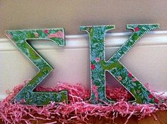 Lilly Pulitzer Sorority Letters Sigma Kappa by PerpetualPrep -SOO into this! Sorority Letters, Sorority Paddles, Sorority Crafts, Sorority Life, Sorority Sugar, Sigma Kappa, Theta, Delta Zeta, Door Letters