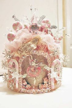 Denise Hahn Graphic 45 Nutcracker Sweet Crown This is a gorgeous piece of altered art! Christmas Photo, Noel Christmas, Pink Christmas, Christmas Crafts, Christmas Decorations, Christmas Ornaments, Xmas, Shabby Chic Christmas, Victorian Christmas